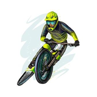Велосипедист на горном велосипеде. реалистичные векторные иллюстрации красок