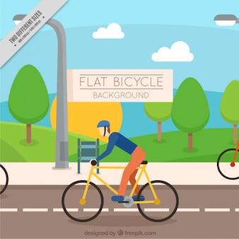 도 배경에 자전거 타는 사람