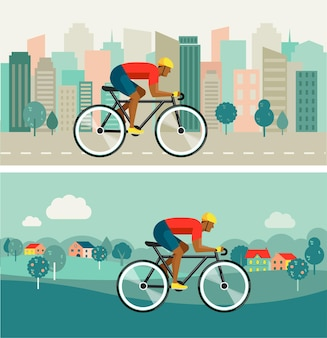 Cyclist riding on bicycle on city and countryside illustration.