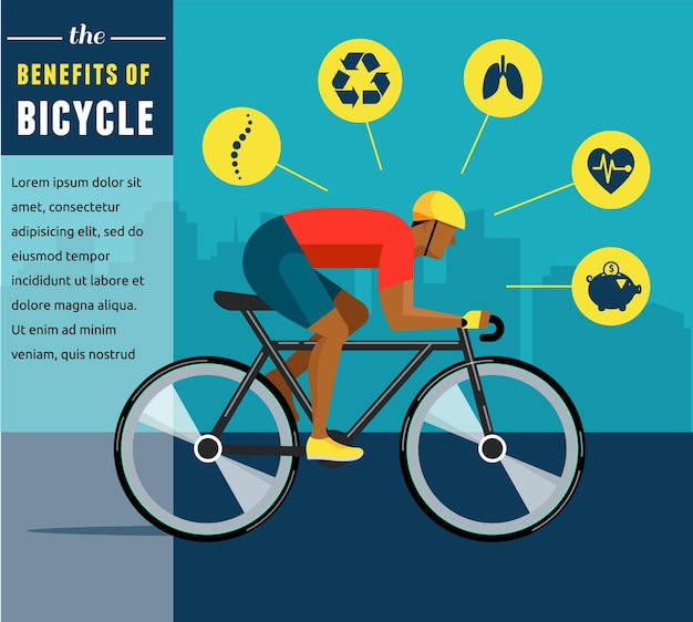Cyclist riding on bicycle infographics poster icon set
