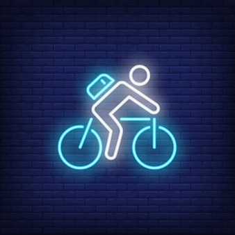 Cyclist riding bike neon sign