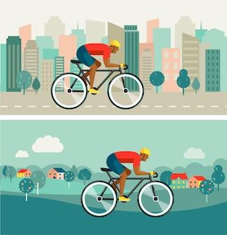 都市と田舎のイラストで自転車に乗ってサイクリスト。
