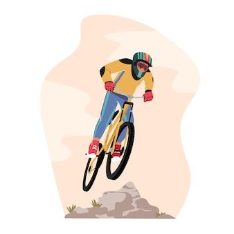 Велосипедист спортсмен персонаж в спортивной одежде и шлеме на горном велосипеде, летний экстрим на открытом воздухе. велосипед активный спортивный образ жизни и здоровый образ жизни, соревнования велогонщиков. векторные иллюстрации шаржа