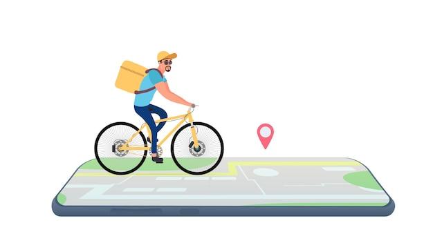 自転車に黄色のバックパックを持ったサイクリスト