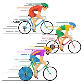 サイクリストの自転車レース。キャラクターフラットなデザインスタイル。自転車サイクリング、競技中のレーサー