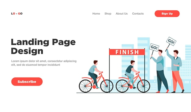 Cyclists competing on city bicycle marathon landing page