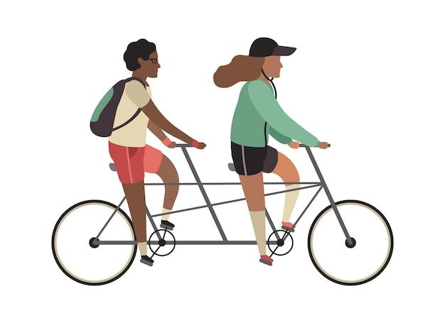 サイクリストのコンセプト。幸せな人はタンデム自転車に乗ります。公園でのアウトドアアクティビティ、カップルの健康的なライフスタイル、ツイン自転車に乗る男女。フラットベクトル漫画孤立したイラスト
