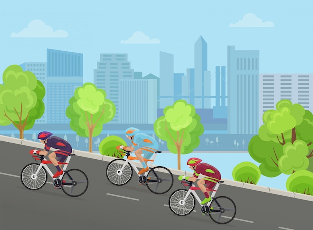 Cyclists riding up in city