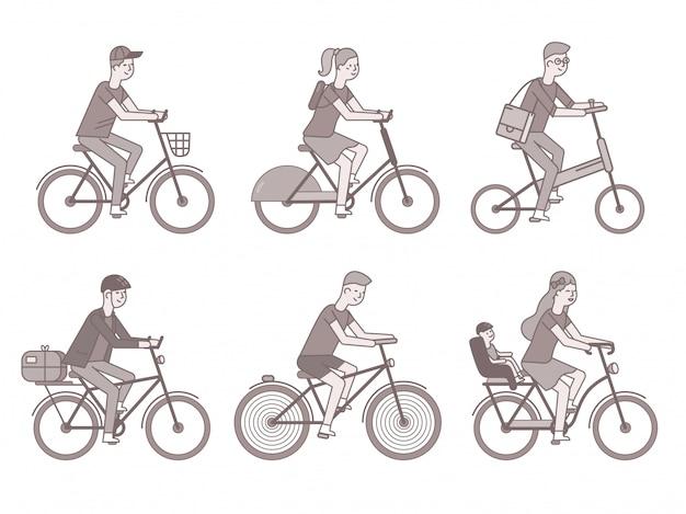Велосипедисты установлены. мужчины и женщины на велосипедах