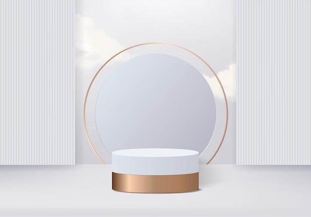 Цилиндр абстрактная минимальная сцена с хрустальной стеклянной платформой. фон 3d-рендеринг с подиумом. стенд для демонстрации косметической продукции. сценический дисплей на постаменте 3d на золотом студийном фоне