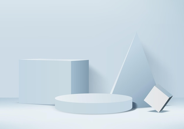 Cylinder abstract minimal scene with geometric platform. background 3d rendering with podium. stage showcase on pedestal modern 3d studio blue pastel