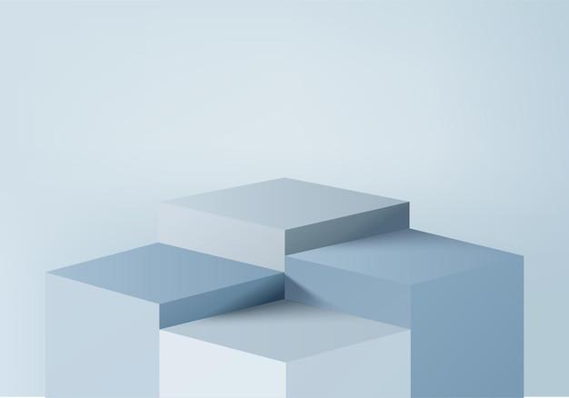 기하학적 플랫폼이있는 실린더 추상 최소한의 장면. 연단 여름 3d 렌더링입니다. 받침대 현대 3d 블루 파스텔에 무대 쇼케이스