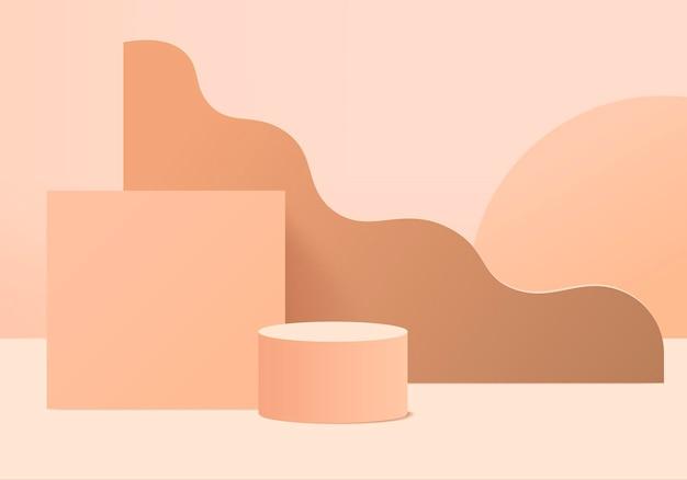 幾何学的なプラットフォームを備えたシリンダー抽象ミニマルシーン。表彰台で夏の背景の3dレンダリング。台座のモダンな3dスタジオベージュパステルのステージショーケース
