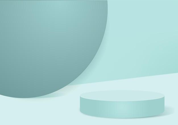 幾何学的なプラットフォームを備えたシリンダー抽象ミニマルシーン。表彰台で夏の背景の3dレンダリング。台座のモダンな3dスタジオグリーンパステルのステージショーケース