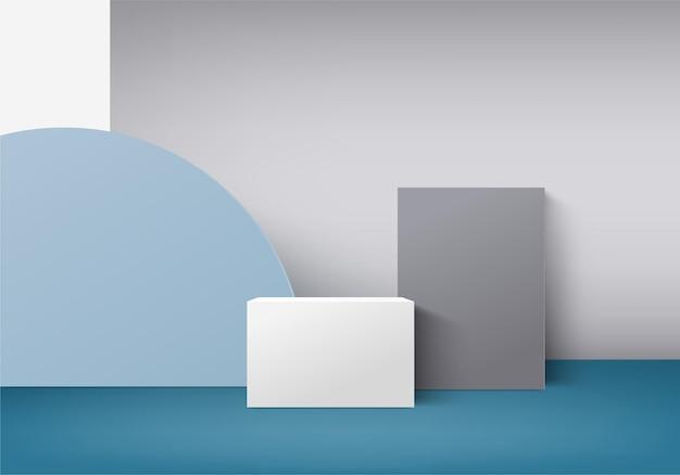 幾何学的なプラットフォームを備えたシリンダーの抽象的な最小限のシーン。表彰台での夏の背景 3 d レンダリング。化粧品を展示するスタンド。台座のモダンな 3 d スタジオ ブルー パステルのステージ ショーケース