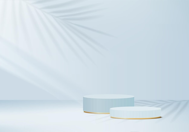 Cylinder abstract minimal scene with geometric platform. summer background   rendering with podium. stand to show cosmetic products. stage showcase on pedestal modern  studio blue pastel