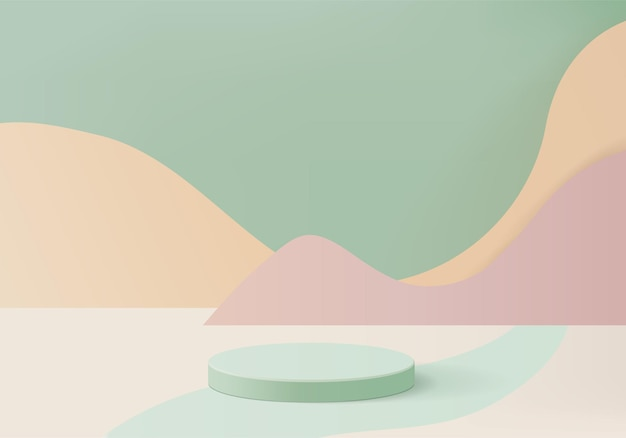 Cylinder abstract minimal scene with geometric platform. summer background   rendering with podium. stand to show cosmetic products. stage showcase on pedestal modern  studio green pastel