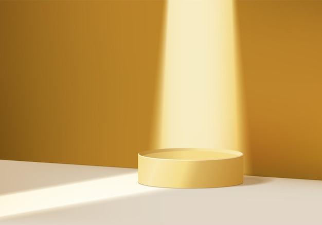 Cylinder abstract minimal scene with geometric platform. summer background   rendering with podium. stand to show cosmetic products. stage showcase on pedestal modern  studio yellow pastel