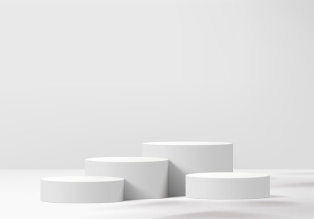 Cylinder abstract minimal scene with geometric platform. summer background   rendering with podium. stand to show cosmetic products. stage showcase on pedestal modern  white studio