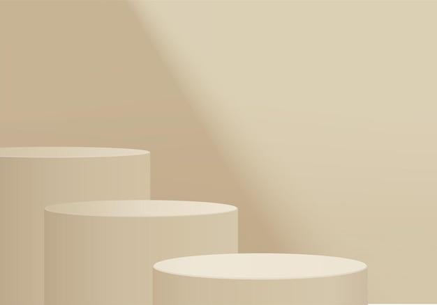 幾何学的なプラットフォームを備えたシリンダー抽象ミニマルシーン。表彰台でレンダリングする夏の背景。化粧品を展示するスタンド。台座モダンスタジオベージュパステルのステージショーケース