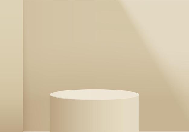 Цилиндр абстрактная минимальная сцена с геометрической платформой. рендеринг летнего фона с подиумом. стенд для демонстрации косметической продукции. сценическая витрина на пьедестале современной студии желтая пастель