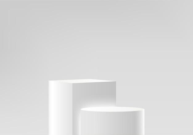 幾何学的なプラットフォームを備えたシリンダー抽象ミニマルシーン。表彰台でレンダリングする夏の背景。化粧品を展示するスタンド。台座のモダンな白いスタジオのステージショーケース
