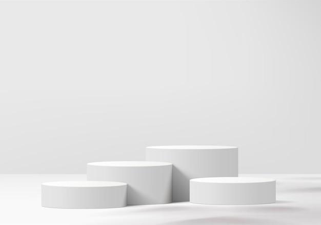 기하학적 플랫폼이있는 실린더 추상 최소한의 장면. 연단으로 여름 배경 렌더링입니다. 화장품을 보여주기 위해 서 있습니다. 페데스탈 모던 화이트 스튜디오의 무대 쇼케이스