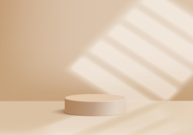 Cylinder abstract minimal scene with geometric platform. summer background vector 3d rendering with podium. stand to show cosmetic products. stage showcase on pedestal modern 3d studio beige pastel
