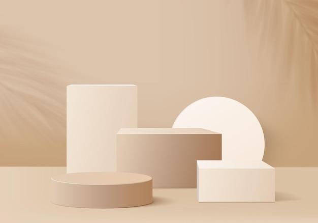 幾何学的なプラットフォームを備えたシリンダー抽象ミニマルシーン。表彰台と夏の背景ベクトル3dレンダリング。化粧品を展示するスタンド。台座のモダンな3dスタジオベージュパステルのステージショーケース