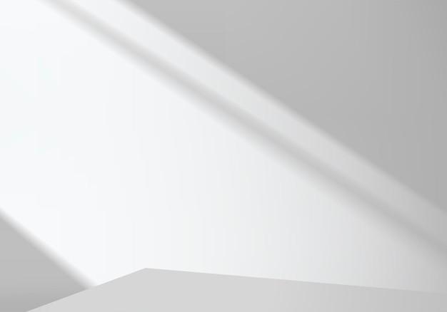 幾何学的なプラットフォームを備えたシリンダー抽象ミニマルシーン。表彰台と夏の背景ベクトル3dレンダリング。化粧品を展示するスタンド。台座のモダンな3dホワイトスタジオのステージショーケース