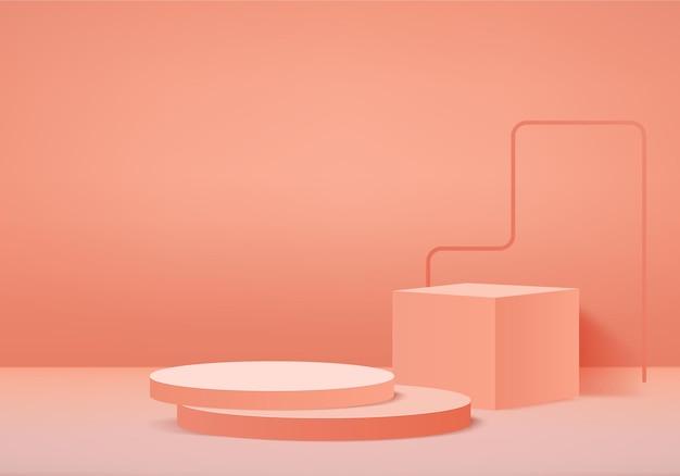 Цилиндр абстрактная минимальная сцена с геометрической платформой. витрина летней сцены на постаменте современная 3d студия оранжевый