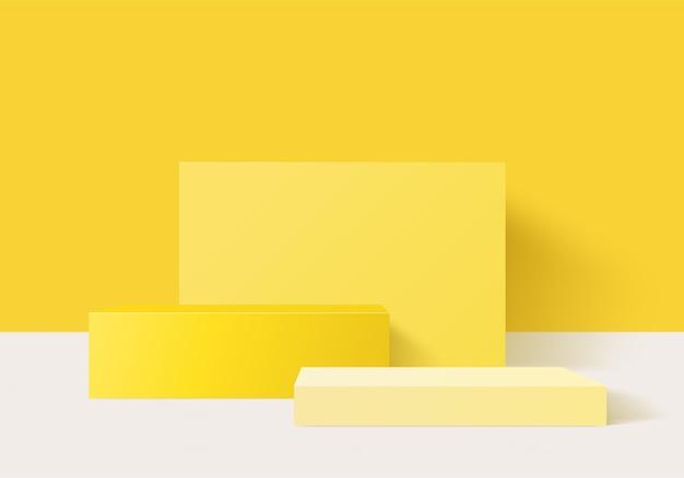 기하학적 플랫폼이있는 실린더 추상 최소한의 장면. 받침대 현대 3d 스튜디오 노란색 파스텔에 여름 무대 쇼케이스