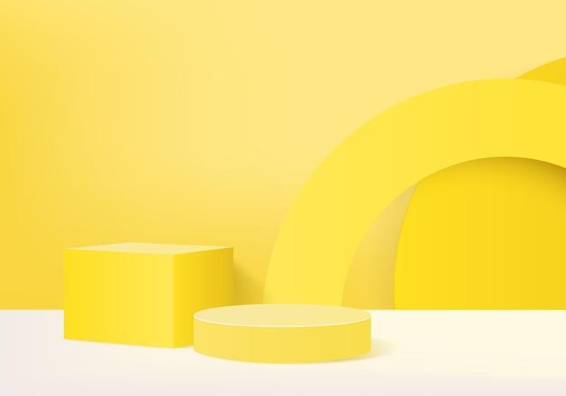幾何学的なプラットフォームを備えたシリンダー抽象ミニマルシーン。台座のモダンな3dスタジオイエローパステルのサマーステージショーケース