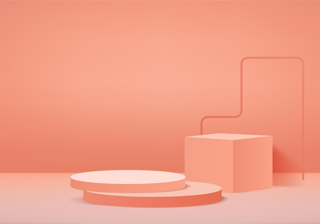 Cylinder abstract minimal scene with geometric platform. summer   stage showcase on pedestal modern 3d studio orange