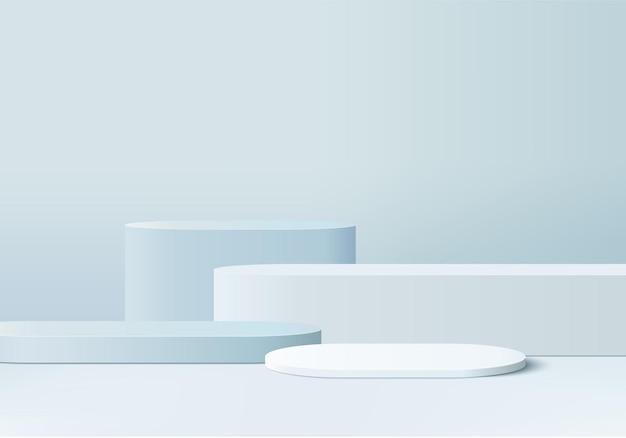 기하학적 플랫폼이있는 실린더 추상 최소한의 장면.