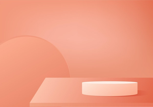 기하학적 플랫폼이있는 실린더 추상 최소한의 장면