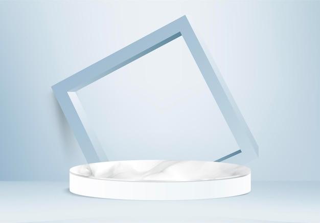 Цилиндр абстрактная минимальная сцена с геометрической платформой