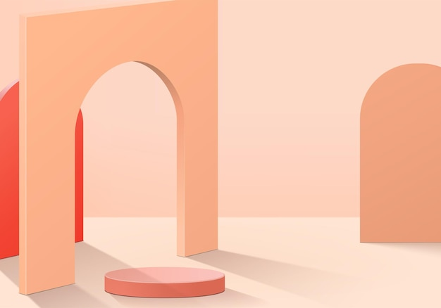 Cylinder abstract minimal scene with geometric platform.