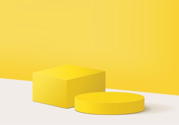 幾何学的なプラットフォームを備えたシリンダー抽象ミニマルシーン。
