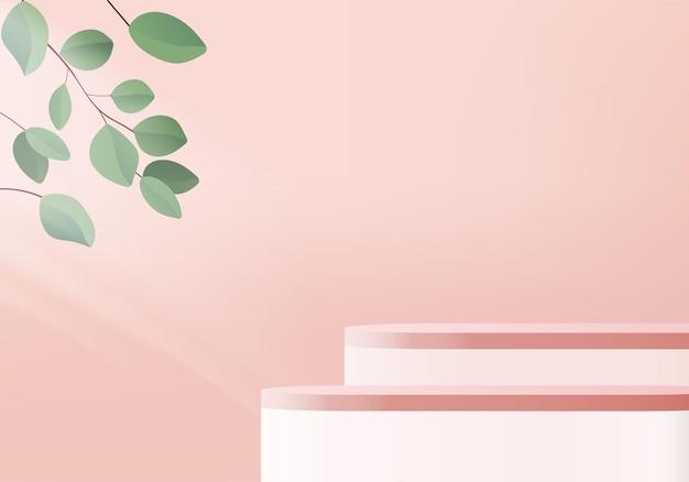 Cylinder minimal scene with geometric platform 3d rendering with podium