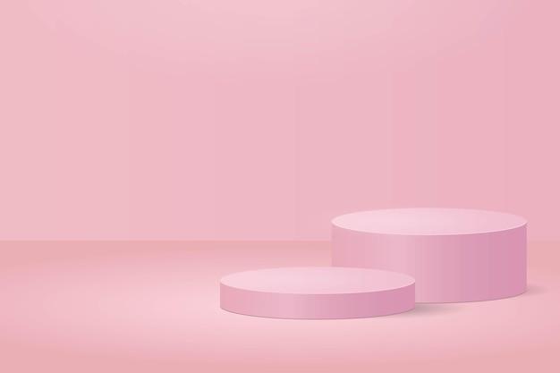 제품을 보여주는 실린더 핑크 배경 연단 및 제품 디스플레이 장면