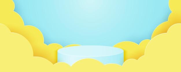 하늘색 배경에서 실린더 연단. 노란색 구름, 제품 프리젠 테이션의 기하학적 모양으로 추상 최소한의 장면. 3d 종이 잘라 벡터 일러스트 레이 션.