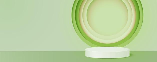 緑の背景にシリンダー表彰台。丸い紙のカットの幾何学的な形の抽象的な最小限のシーン、製品のプレゼンテーション。3d紙アートのベクトル図。
