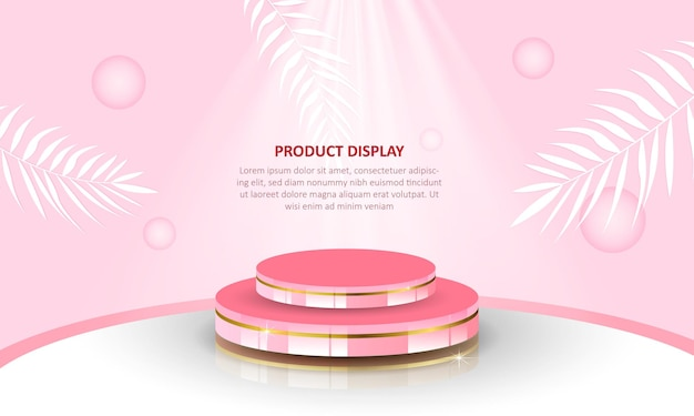 Cylinder podium product display show in pink background