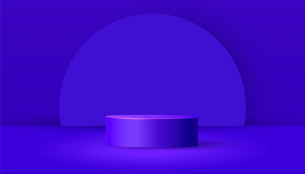 Cylinder podium with paper cut geometric shapes and shadow on a purple background. minimal scene with geometrical forms for product presentation