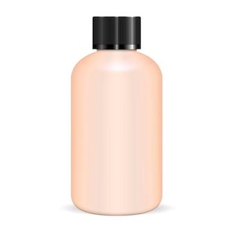 Cylinder round shampoo bottle vector blank.