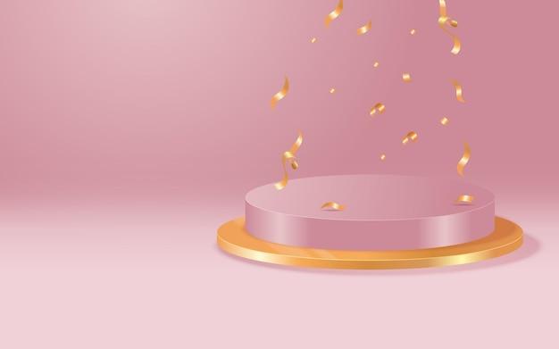 オブジェクトや製品のプレゼンテーション用の円筒形の白いエレガントな台座。幾何学的な形の表彰台を持つ抽象的な美的シーン。ベクターステージテンプレート。