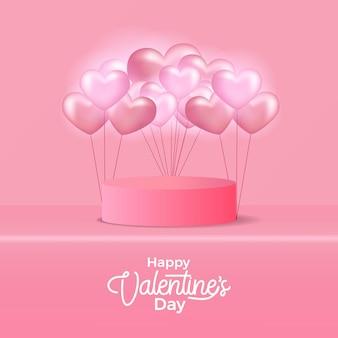Cylinder stage love heart balloon for valentine's day Premium Vector