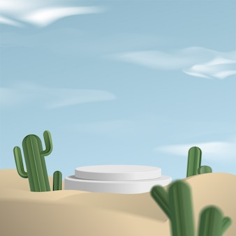 Cylinder white podium  in desert background with cactus. product presentation,  scene to show cosmetic product, podium, stage pedestal or platform.