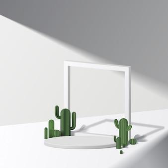 선인장과 흰색 배경에 흰색 실린더 연단. 제품 발표, 화장품을 보여주는 장면, 연단, 무대 받침대 또는 플랫폼.